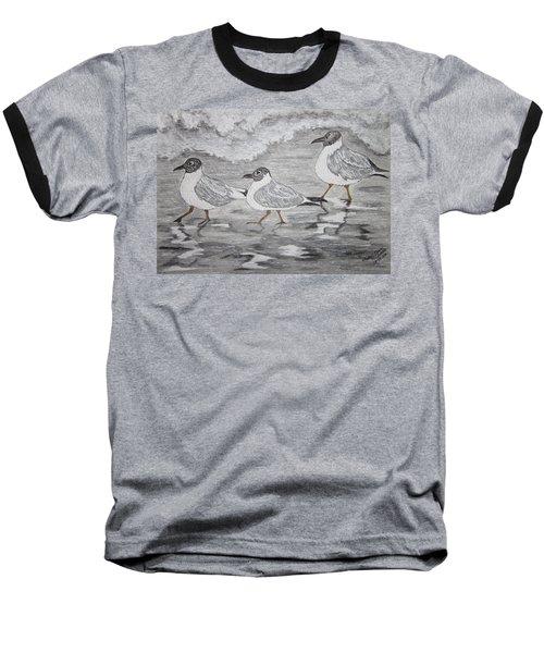 Sea Gulls Dodging The Ocean Waves Baseball T-Shirt by Kathy Marrs Chandler