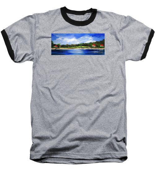 Baseball T-Shirt featuring the painting Sea Hill Houses - Original Sold by Therese Alcorn