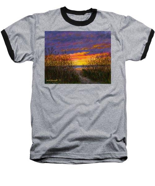 Baseball T-Shirt featuring the painting Sea Oat Sunrise # 2 by Kathleen McDermott