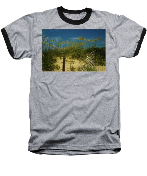 Baseball T-Shirt featuring the photograph Sea Oats And Sand Fence by John Harding