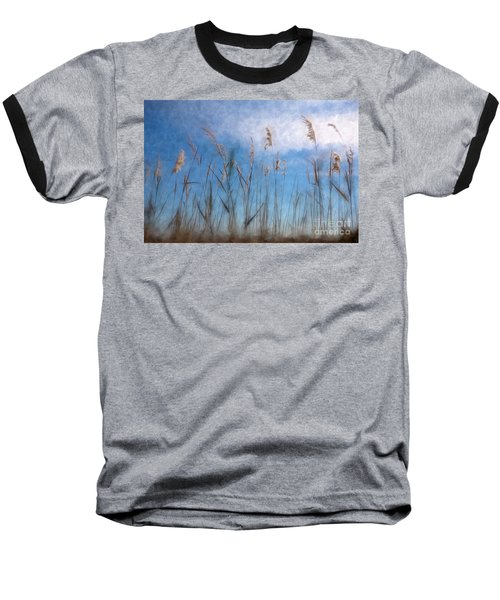 Baseball T-Shirt featuring the painting Sea Oats And Sky On Outer Banks Ap by Dan Carmichael
