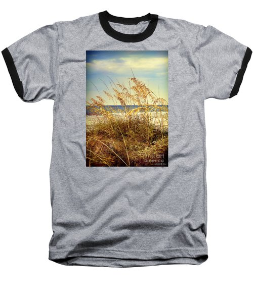 Baseball T-Shirt featuring the photograph Sea Oats Ocean 14 by Linda Olsen