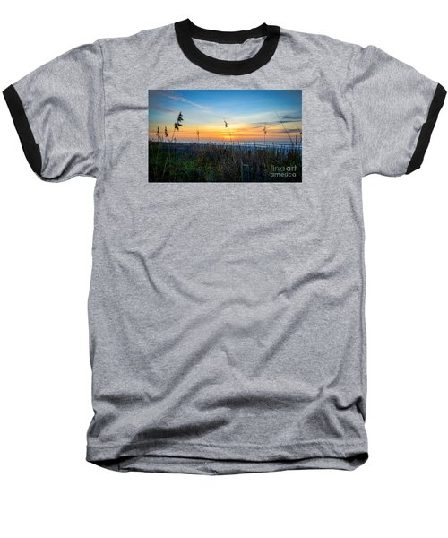 Sea Oats Sunrise Baseball T-Shirt by David Smith