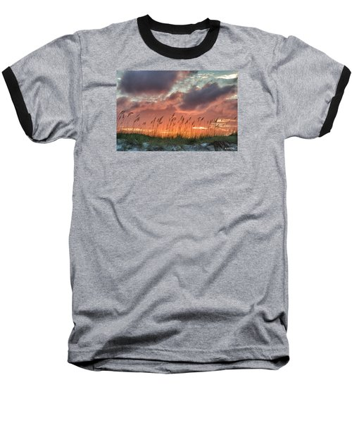 Baseball T-Shirt featuring the digital art Sea Oats Sunset by Phil Mancuso