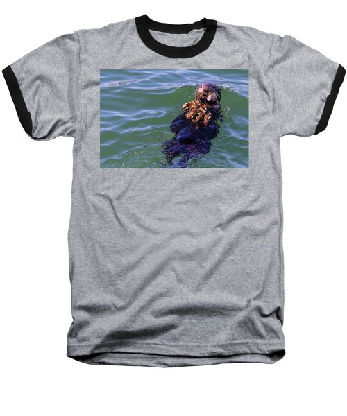 Sea Otter With Lunch Baseball T-Shirt