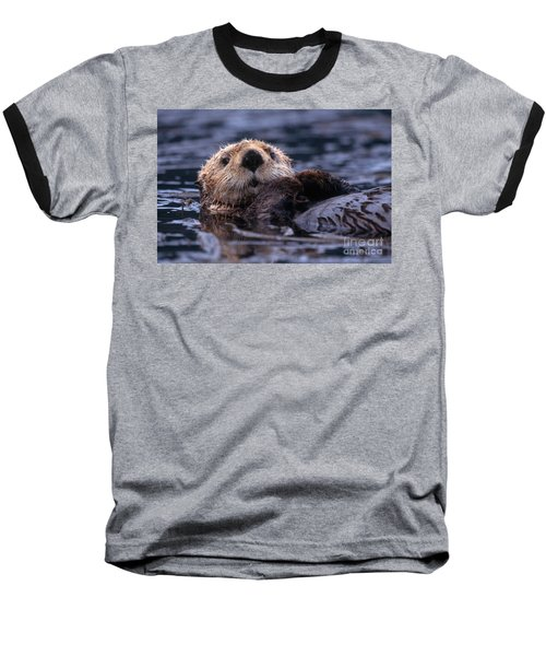 Sea Otter Baseball T-Shirt by Yva Momatiuk and John Eastcott and Photo Researchers