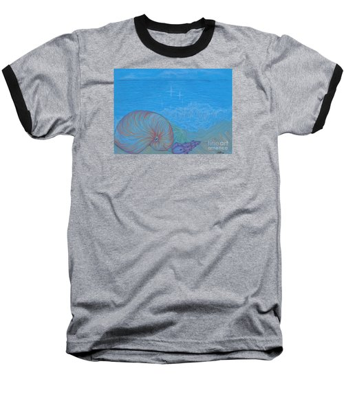 Baseball T-Shirt featuring the drawing Sea Shore by Kim Sy Ok
