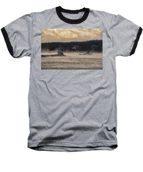 Sea Smoke At Rockland Breakwater Light Baseball T-Shirt