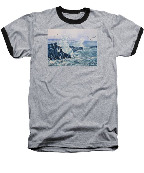 Sea, Splashes And Gulls Baseball T-Shirt