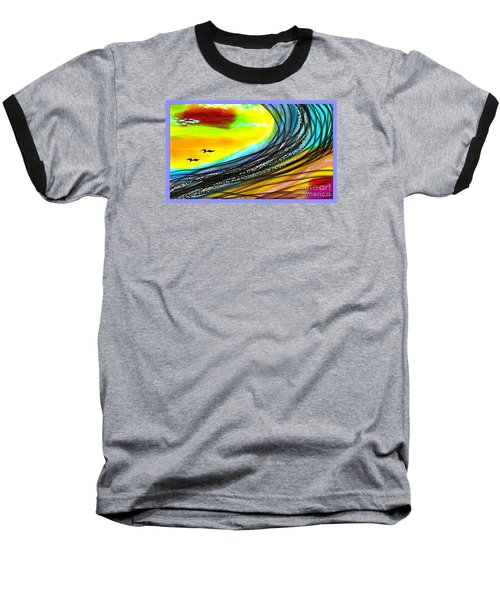 Baseball T-Shirt featuring the painting Sea by The Art of Alice Terrill
