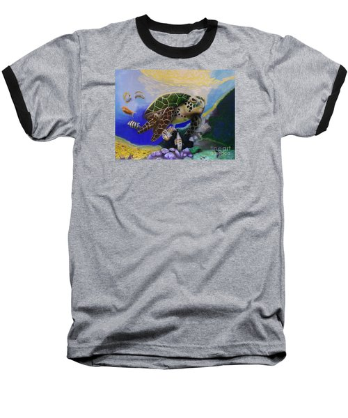 Sea Turtle Acrylic Painting Baseball T-Shirt by Thomas J Herring