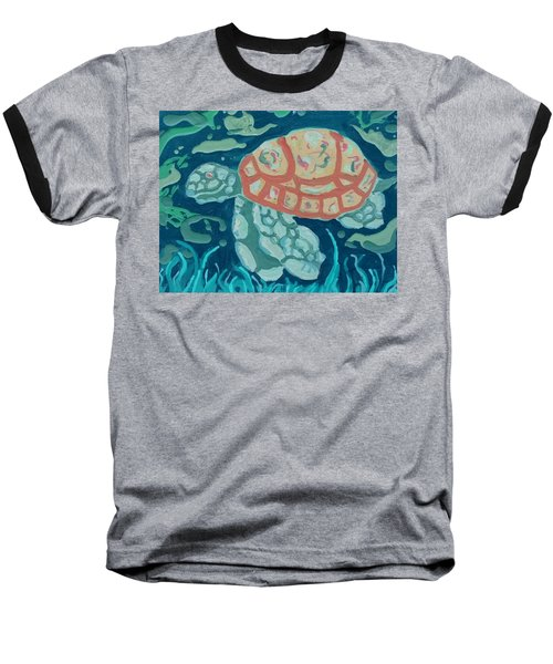 Sea Turtle At Twilight  Baseball T-Shirt