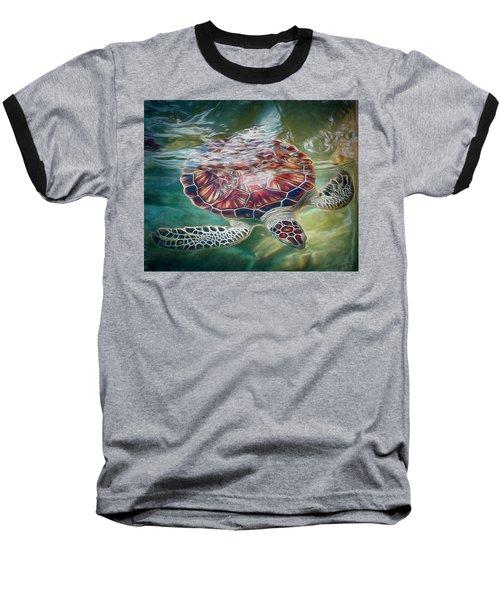 Sea Turtle Dive Baseball T-Shirt