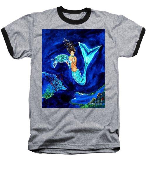 Sea Turtle Kiss Baseball T-Shirt by Leslie Allen