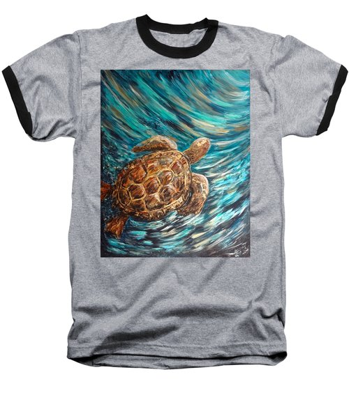 Sea Turtle Wave Guam Baseball T-Shirt