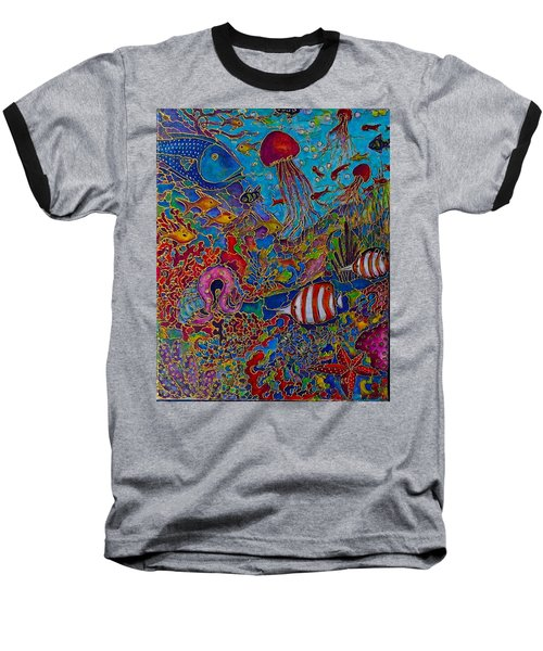 Baseball T-Shirt featuring the painting Sea World by Rae Chichilnitsky