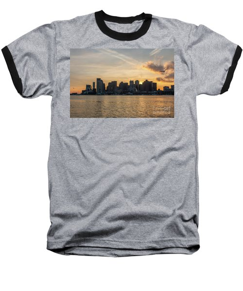 Seagull Flying At Sunset With The Skyline Of Boston On The Backg Baseball T-Shirt