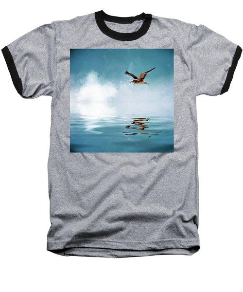 Seagull In Flight Baseball T-Shirt by Cyndy Doty