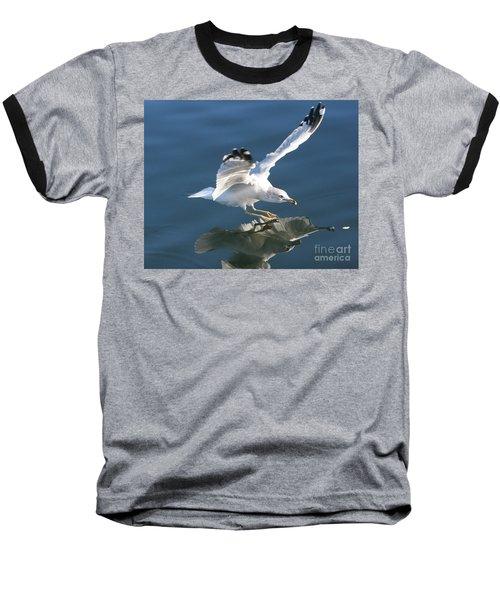 Seagull Reflection Baseball T-Shirt by Rod Jellison