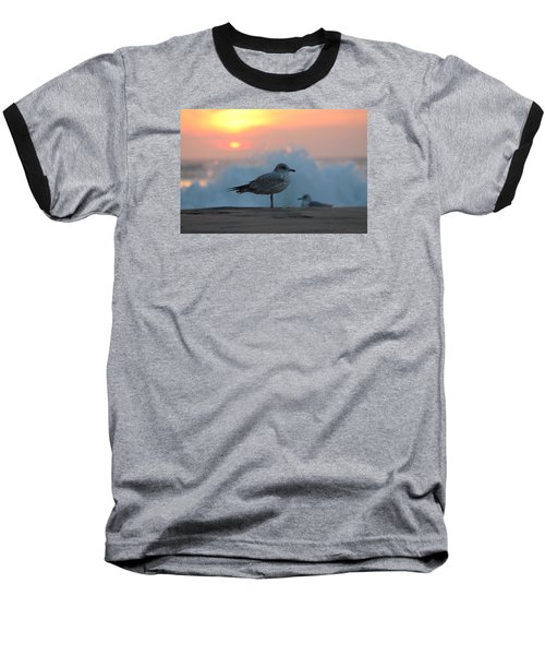 Seagull Seascape Sunrise Baseball T-Shirt