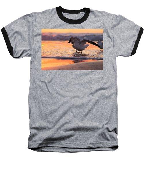 Seagull Stretch At Sunrise Baseball T-Shirt