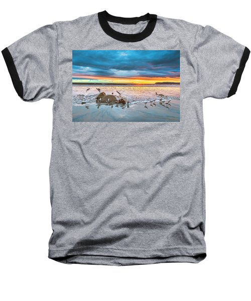 Seagull Sunset Baseball T-Shirt