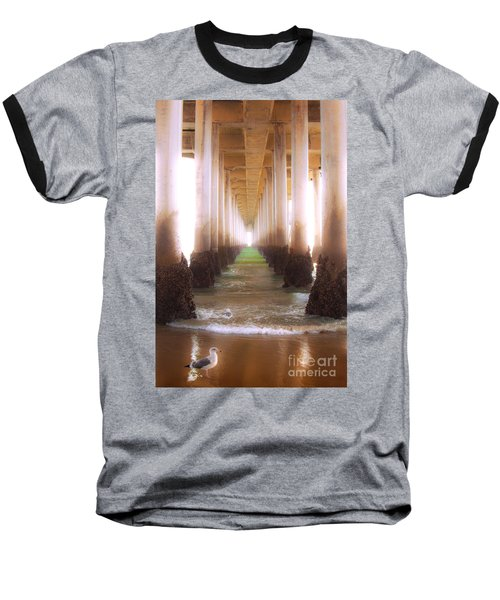 Baseball T-Shirt featuring the photograph Seagull Under The Pier by Jerry Cowart