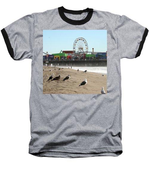 Seagulls And Ferris Wheel Baseball T-Shirt