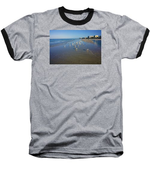 Baseball T-Shirt featuring the photograph Seagulls And Terns On The Beach In Naples, Fl by Robb Stan