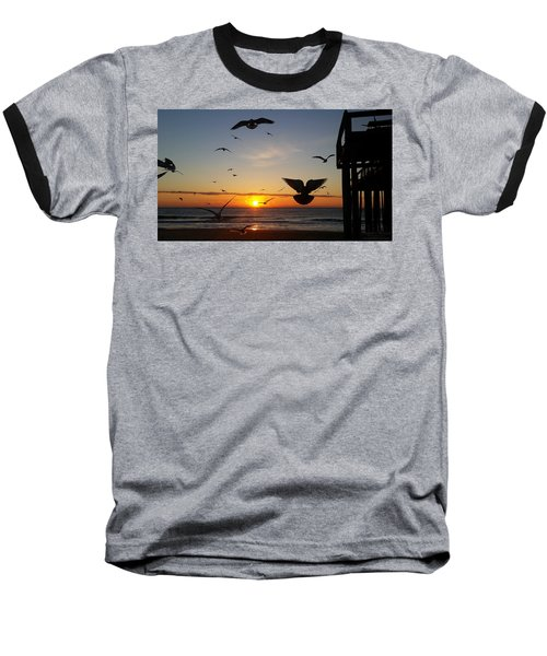 Seagulls At Sunrise Baseball T-Shirt