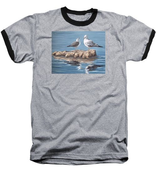 Baseball T-Shirt featuring the painting Seagulls In The Sea by Natalia Tejera