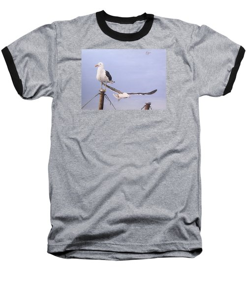 Baseball T-Shirt featuring the painting Seagulls by Natalia Tejera