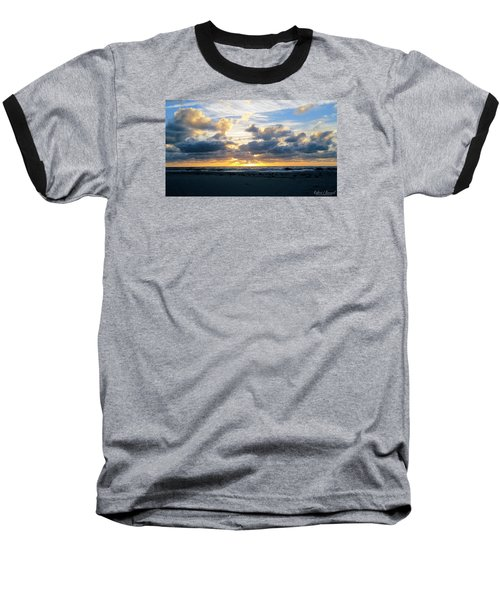 Seagulls On The Beach At Sunrise Baseball T-Shirt