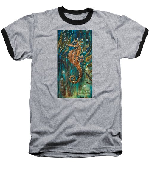 Seahorse And Kelp Baseball T-Shirt