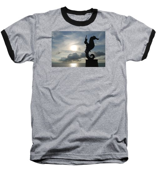 Seahorse Silhouette Baseball T-Shirt