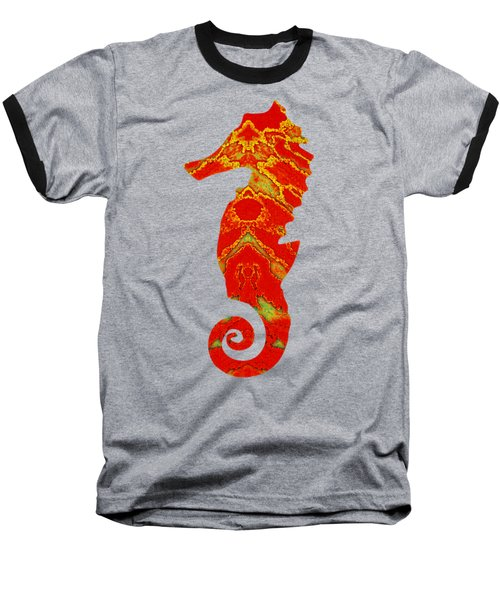 Seahorse Turquoise And Orange Left Facing Baseball T-Shirt