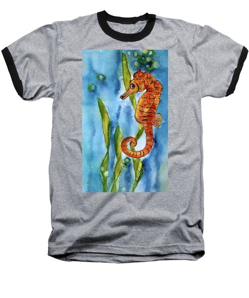 Seahorse With Sea Grass Baseball T-Shirt