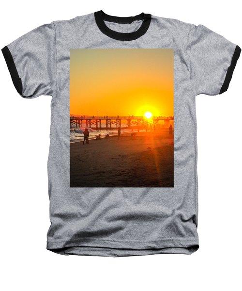 Seal Beach Pier Sunset Baseball T-Shirt by Mark Barclay