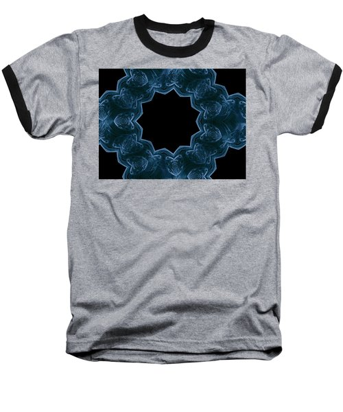 Seamless Kaleidoscope Blue Baseball T-Shirt