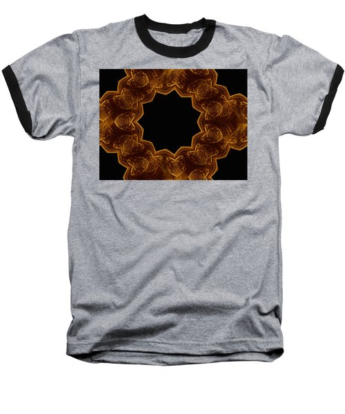 Seamless Kaleidoscope Gold Baseball T-Shirt