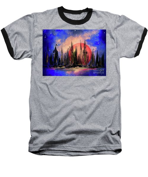 Baseball T-Shirt featuring the drawing Seaport by Andrzej Szczerski