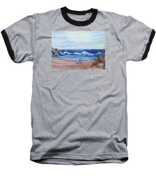 Seascape Baseball T-Shirt by Denise Fulmer