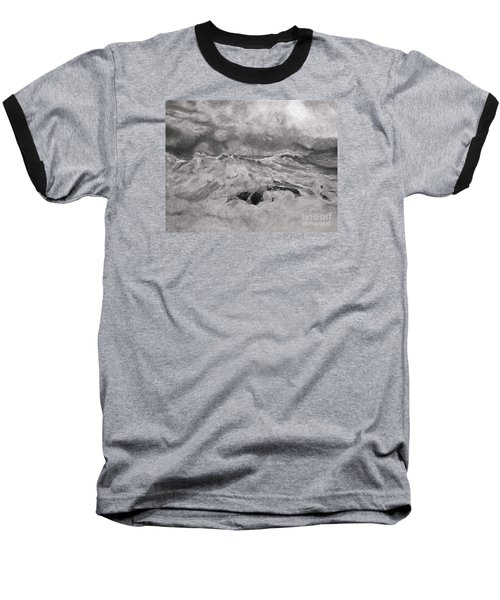 Baseball T-Shirt featuring the drawing Seascape In Graphite by John Stuart Webbstock