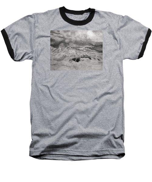 Seascape In Graphite Baseball T-Shirt by John Stuart Webbstock