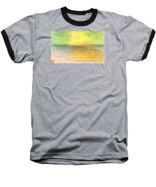 Baseball T-Shirt featuring the drawing Seascape by Karen Nicholson
