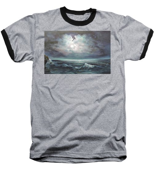 Baseball T-Shirt featuring the painting Moonlit  by Luczay