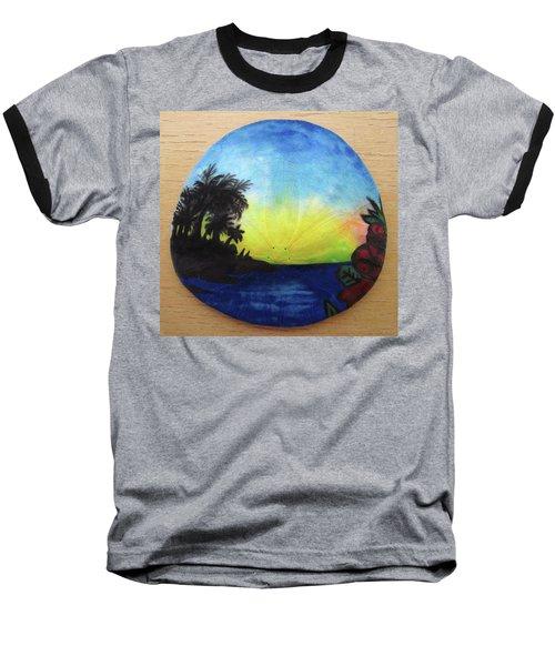Seascape On A Sand Dollar Baseball T-Shirt by Mary Ellen Frazee