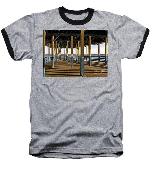 Seascape Walk On The Pier Baseball T-Shirt by Carol F Austin