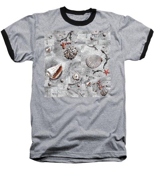 Seashells Collage Of Any Color Baseball T-Shirt by Irina Sztukowski