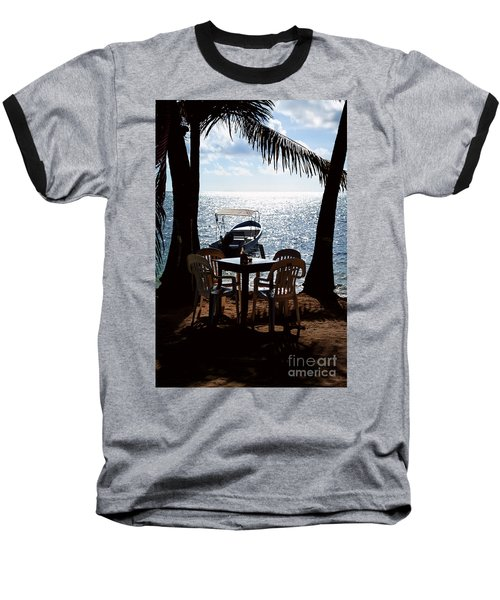 Seaside Dining Baseball T-Shirt by Lawrence Burry